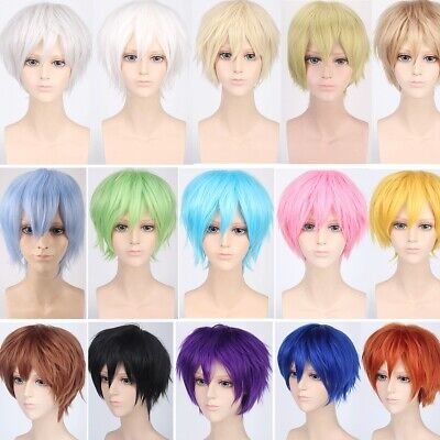 Male Anime Costume (Unisex Male Female Short Full Wig Anime Cosplay Costume Party Wig Synthetic)
