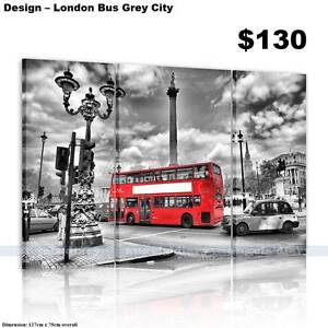 London Bus Grey City-Modern Canvas Prints Art Painting-with frame Baldivis Rockingham Area Preview