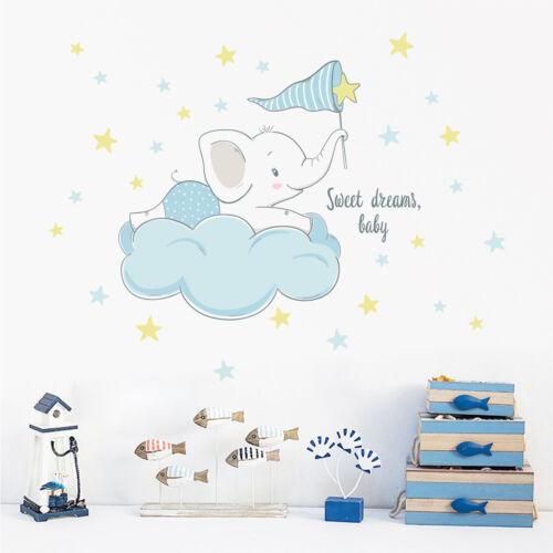 Cute Elephant Sitting on Clouds Stars Wall Sticker Baby Nursery Room DIY Decal