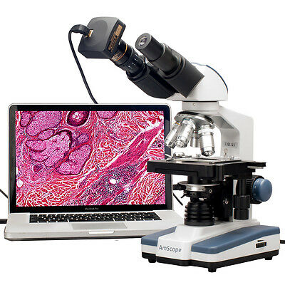 Amscope 40x-2000x Led Binocular Digital Compound Microscope W 3d Stage Usb Cam