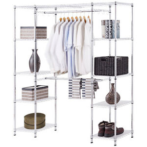 Expandable Closet Organizer Free Standing Clothes Hanger Rack Shelves Heavy  Duty
