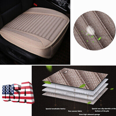 Beige Artificial Linen Car Front Seat Cushion Pad Mat with Bottom Storage Bag ()