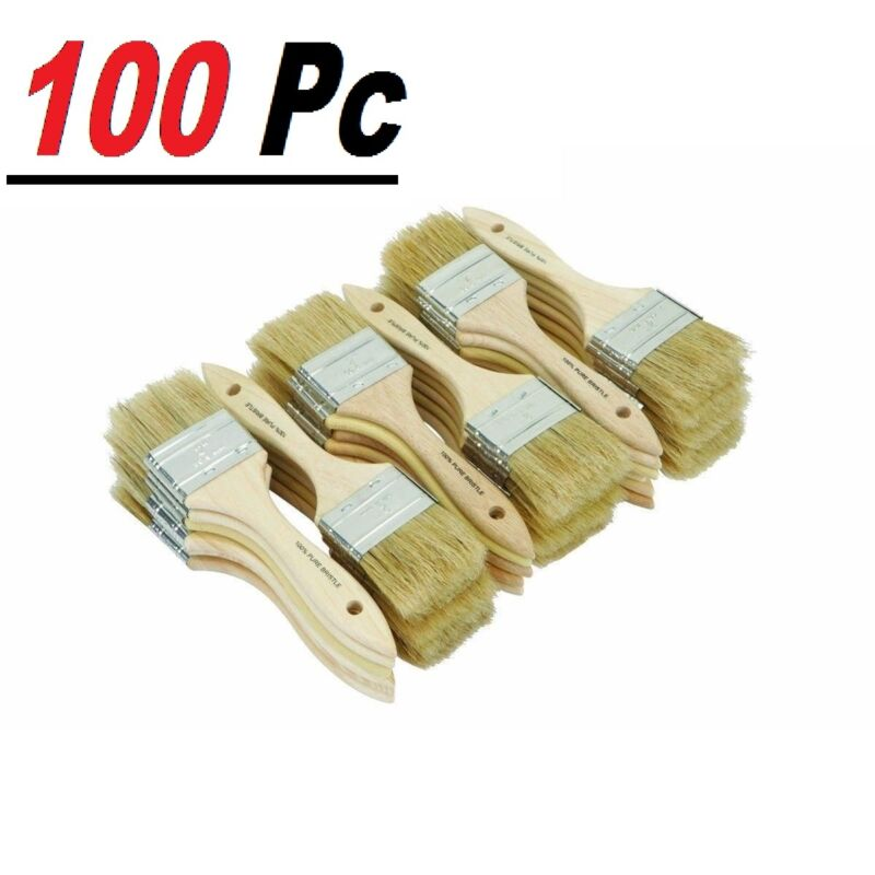 """100 Chip Brush Brushes Perfect Adhesives Paint Touchups Sizes 0.5"""" 1"""" 1.5"""" 2"""" 3"""""""