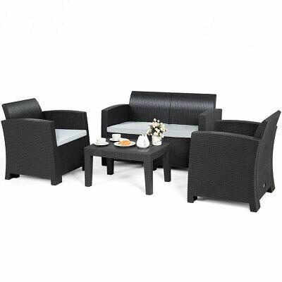 4 Piece Patio Furniture Set Molded Rattan Sectional Sofa Set Coffee Table Black