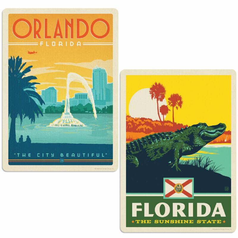 Orlando Florida Alligator Sticker Set of 2 Vintage-Style Travel Decals
