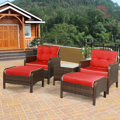 Garden Furniture - 5 PCS Patio Rattan Wicker Furniture Set Sofa Ottoman W/Red Cushion Garden Yard