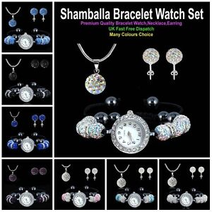 SHAMBALLA-8Pcs-Crystal-Ball-Bracelet-Watch-Pendant-Necklace-Stud-Earring-Set