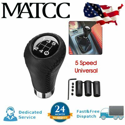 Universal 5 Speed Car Vehicles Shift Knob Manual Gear Stick Shifter Leather US