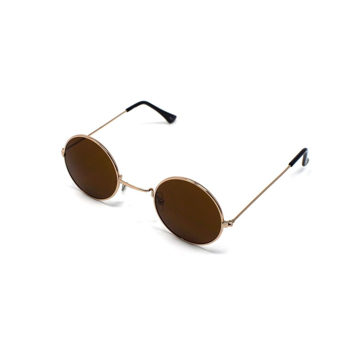 Gold mit Braune Gläser Erwachsene S Style UV400 Runde Sonnenbrille ...
