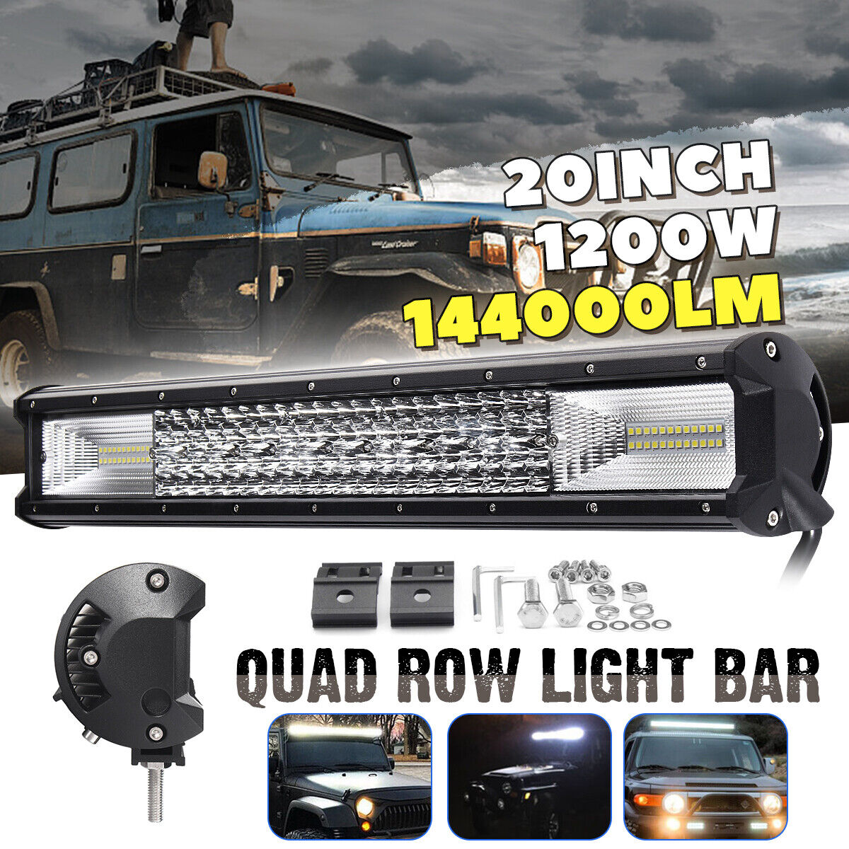 Wiring 52 Inch 1560W LED 5D Curved Work Light Bar Combo Beam Offroad SUV Truck