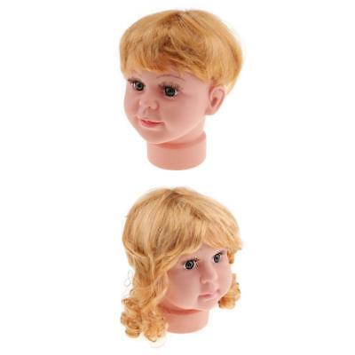 2pcs Baby Girl Boy Doll Head Face Manikin Mannequin Hat Scarf Display Model