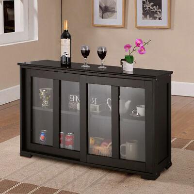 Storage Cabinet Sideboard Buffet Cupboard Glass Sliding Door Pantry Kitchen