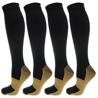 4 Pair Miracle Copper Infused Anti-Fatigue Compression Knee-High Socks Men Women
