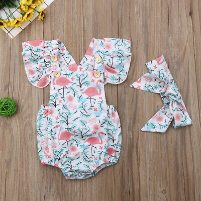 Newborn Kid Baby Girl Flamingo Romper Bodysuit Jumpsuit Headband Outfits Clothes - Flamingo Girl