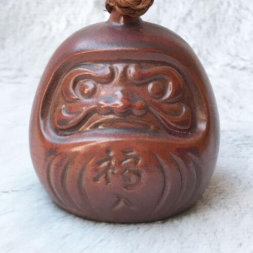 Japanese Lucky Clay Bell Vtg Dorei Ceramic Doll Bronze Daruma Kanji Signatures