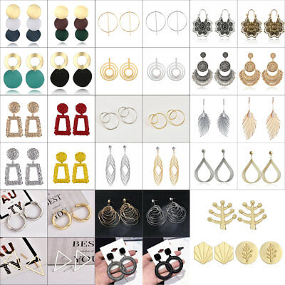 Large Party Circle (Fashion Round Large Circle Geometry Metal Ear Stud Earrings Women Party Jewelry )
