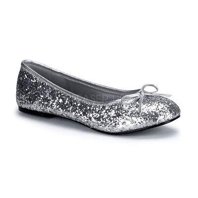 Women's Basic Classic Cute Sparkle Silver Glitter Flats Costume Shoes STAR16G/S - Women Ballerina Costume