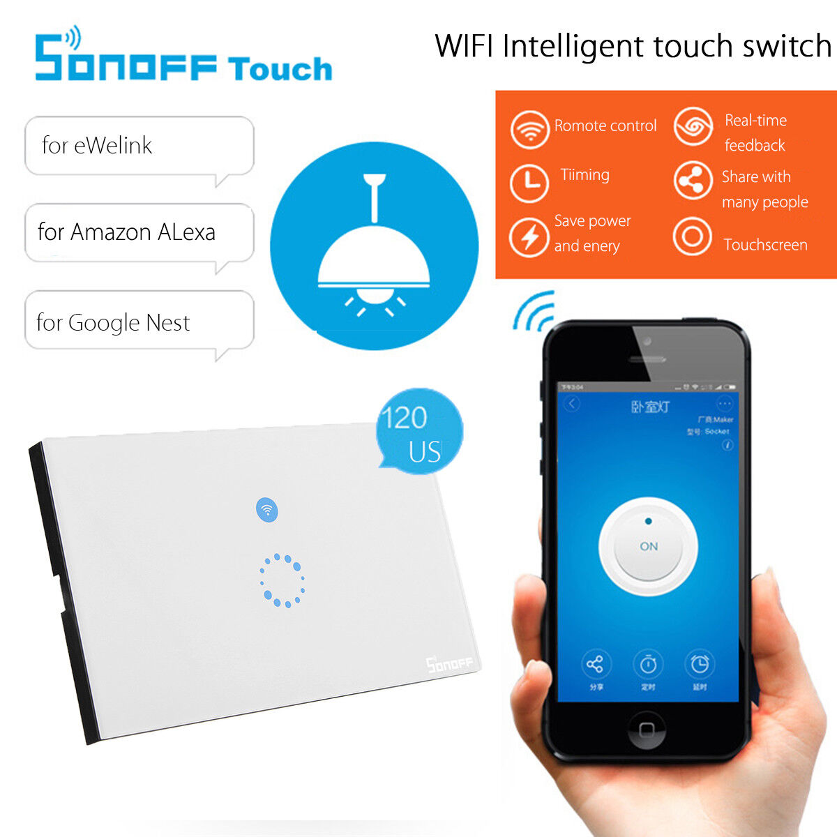 For Amazon Alexa WIFI Smart Timer Wall Light Touch Remote Control Wall Switch