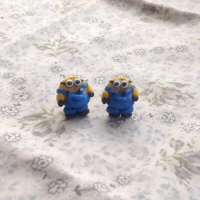 Minion Earrings Studs Two Eyes Handmade Birthday Gift Ideas Party Bag Fillers - Minion Birthday Party Ideas