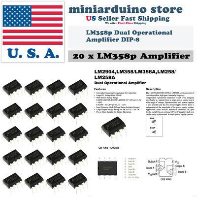 20pcs Lm358 Lm358n Lm358p Dual Op Amp Dip-8 Low Power Operation Amplifier