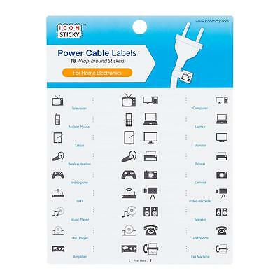 New Container Store Icon Sticky Electronics Power Cable Label Stickers   18 Pack