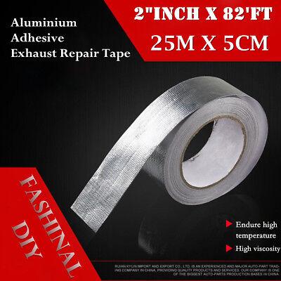 25m High Heat Insulation Aluminium Wrap Exhaust Header Pipe Tape Cloth Silver