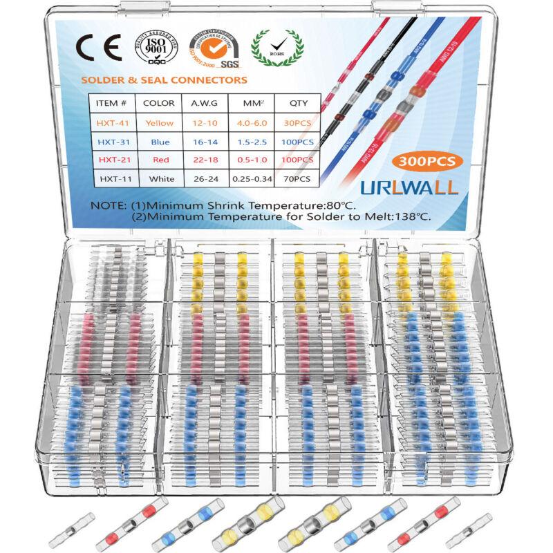 300X 3:1 Solder Seal Heat Shrink Butt Wire Terminal Connectors Splice Waterproof