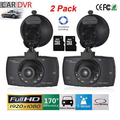 2Pack Full Hd 1080P Car Dash Dvr Camera Video Recorder Cam Night Vision G Sensor