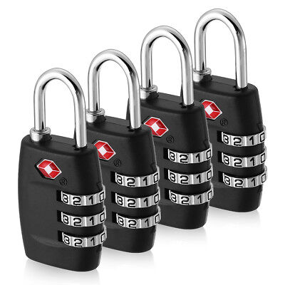 4Pcs TSA Approved Luggage Lock Travel 3 Digit Combination Suitcase Padlock Reset