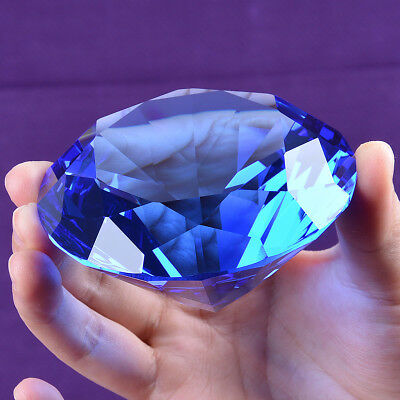 Blue Crystal Diamond Shape Paperweight Glass Gem Display Ornament Gift 80mm