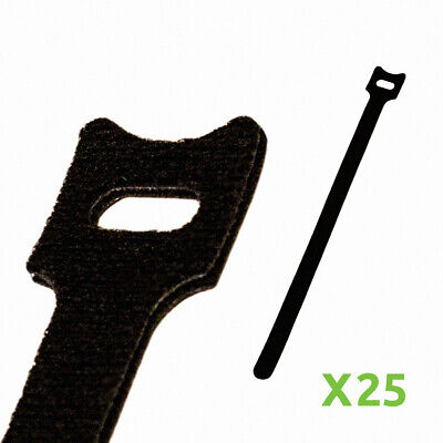 10 Inch Hook And Loop Reusable Strap Cable Cord Wire Ties 25 Pack Black