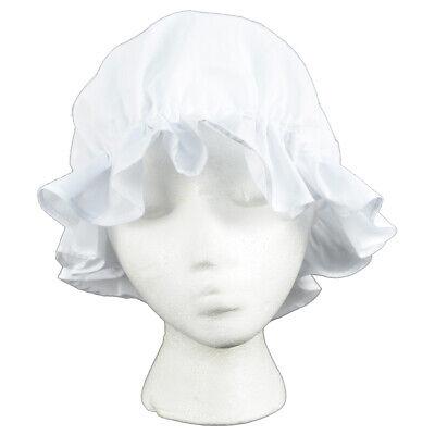 Colonial Amish Mob Cotton Hat Womens White Bonnet Poor Girl/Maid/Pilgrim Costume - Pilgrim Girl Hat