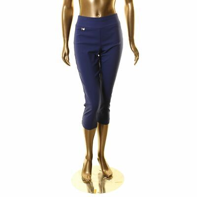 ALFANI NEW Women's Dark Blue Tummy Control Pull On Capri Cro