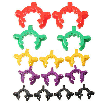 10pcs Plastic Lab Clamp Clip Keck For Glass Ground Joint Multiple Size Colors