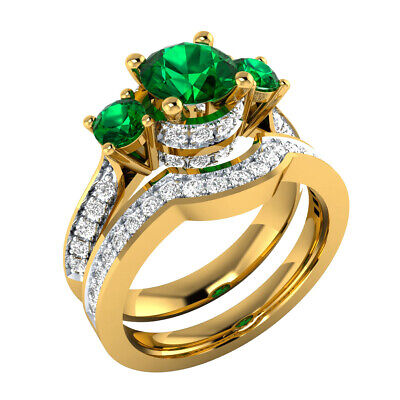 1.60 Ct Green Emerald and Sapphire Wedding Bridal Ring Set 14k Yellow Gold GP](Green And Gold Wedding)