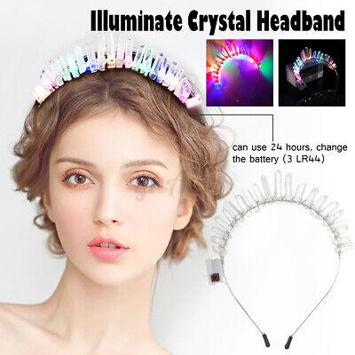 10 Luces LED Natural Cristal Corona Cristal Diadema Tocado Boda Parte
