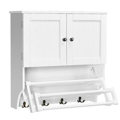Bathroom Wall Cabinet W/Towel Bar and Stretchable Shelf Storage Pine Rack -