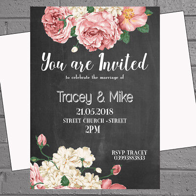 Personalised Wedding Evening Day Invitations Blackboard Modern Floral x12 H1692](Floral Wedding Invitations)