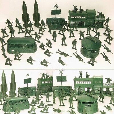 56pcs Men Military Missile Base Model Playset Soldier Green Figure Army Kids Toy