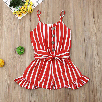 Girls Striped Romper - Toddler Baby Girls Clothes Strap Striped Romper Fashion Beach Chiffon Dress