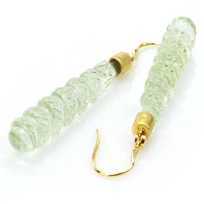 (De Buman 31.71ctw Green Amethyst & Diamond Solid 18KY Gold Earrings)