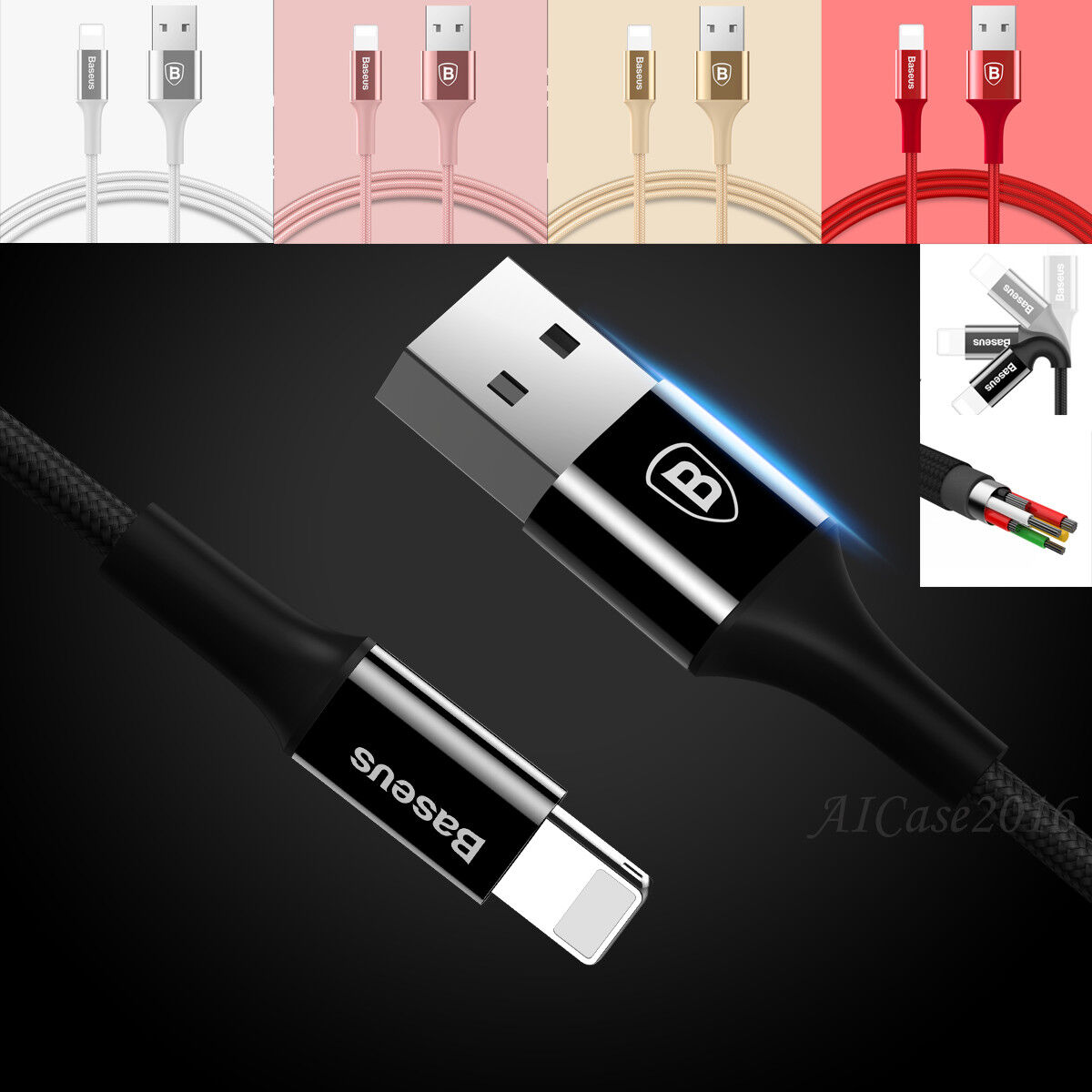 3ft Baseus MFi Cable Apple Certified Lightning USB Charger f