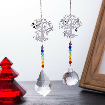 Suncatcher Set (US Set 2 Life Tree Suncatcher Crystal Chakra Prisms Pendant Xmas Fengshui Decor )