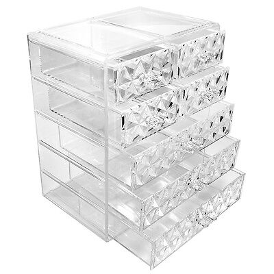 Sorbus Makeup Storage Organizer - 3 Large and 4 Small Drawers, Diamond Pattern
