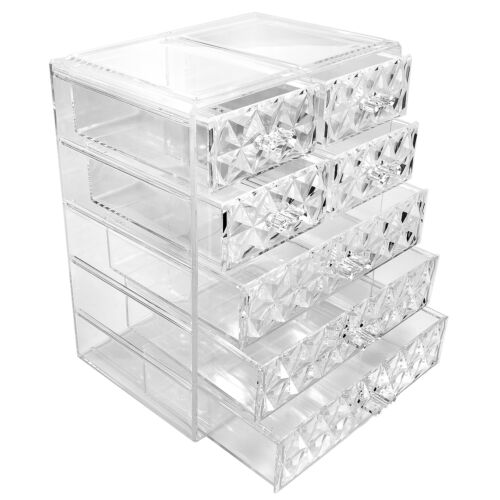 Sorbus Makeup Storage Organizer - 3 Large and 4 Small Drawers, Diamond Pattern