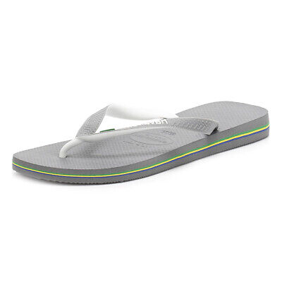Havaianas Mens Grey Slim Flip Flops, Brasil Logo, Slip On, Casual Beach Shoes