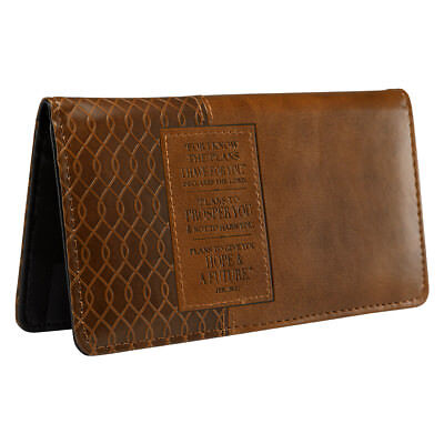 Checkbook Cover I Know the Plans For You brown Lux-Leather BRAND NEW
