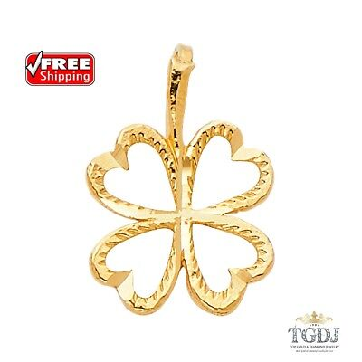14k Solid Yellow Gold Four Heart Clover Charm Pendant,Height:11 MM Width:11MM