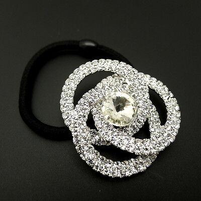 "Silver 1.5"" Rhinestone Rose Jeweled Crystal Ponytail Holder Hair Elastic Band"