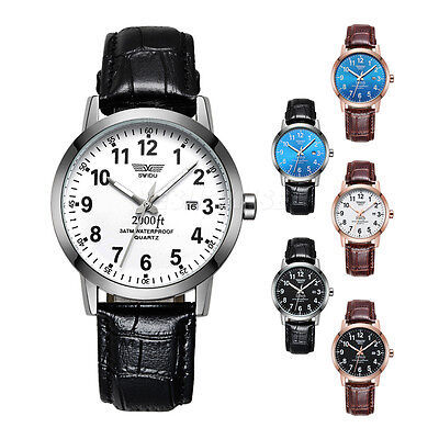 Mens Brown Leather Band Date Hours Analog Quartz Sport Blue Dial Wrist Watch